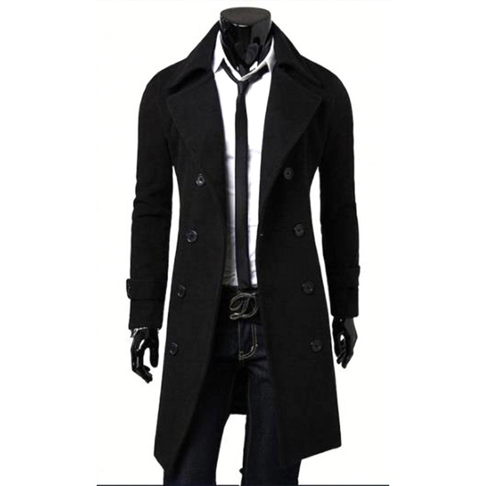 Long Trench Coat Warm Thicken Woolen Long Overcoat Quality Slim Black Male Overcoat black_XXXL