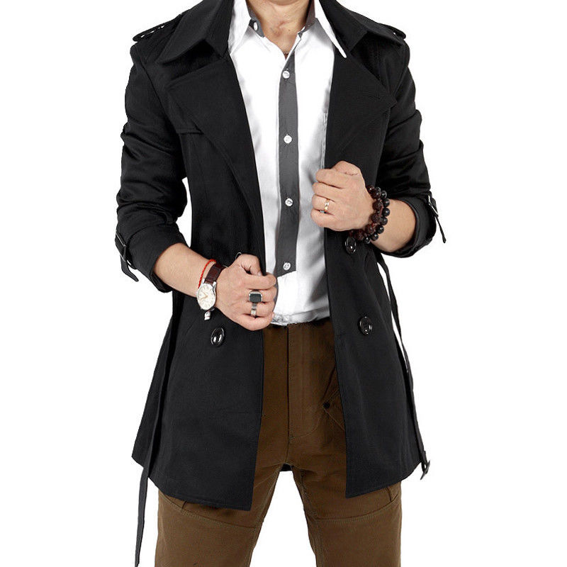 Men Windbreaker Long Fashion Jacket with Double-breasted Buttons Lapel Collar Coat black_XL