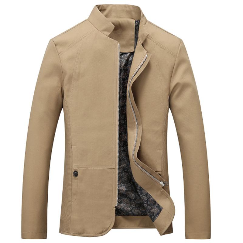Men Casual Outdoor Slim Jacket Stylish Standing Collar Coat Cotton Tops  Khaki_M