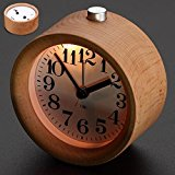 Singeek Classic Small Round Wood Grain Mute Table Alarm Clock With Nightlight