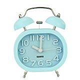 Fashion Oval Cute Twin Double Bell Desk Alarm Clock with Nightlight Loud Alarm (blue)