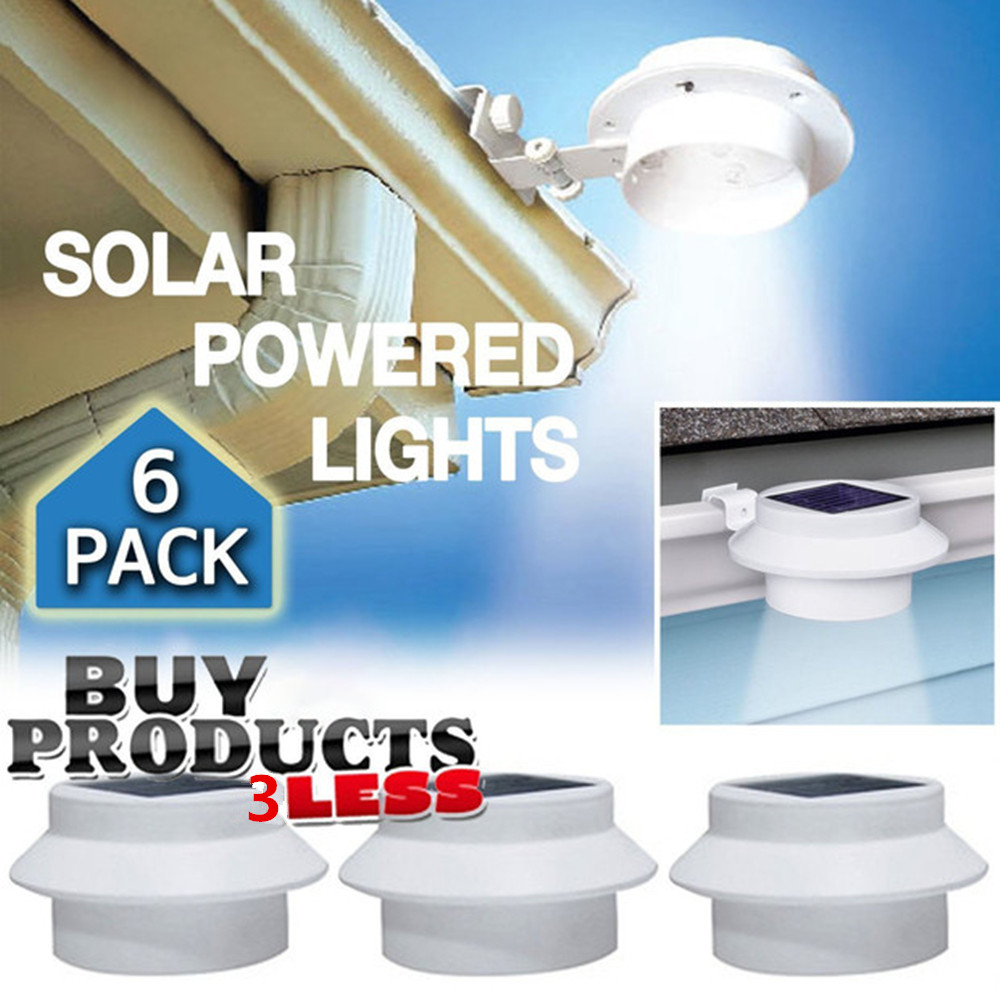 6 Pack Deal - Outdoor Solar Gutter LED Lights - White Sun Power Smart LED Solar Gutter Night Utility Security Light for Indoor Outdoor Permanent or Portable for Any House, Fence, Garden, Garage, Shed,