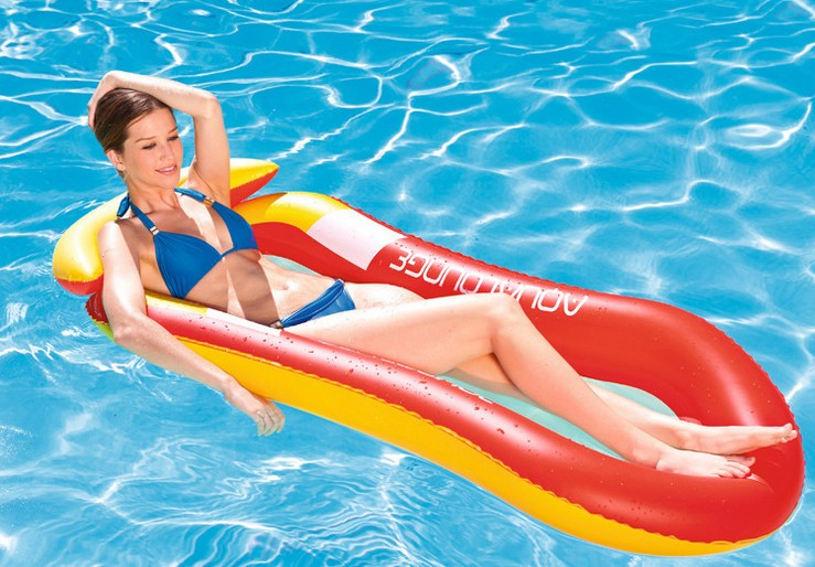 PVC Inflatable Water Loungers Floating Row Beach Cushion Bed Swimming Pool Float Toy Blue_25*25*5CM