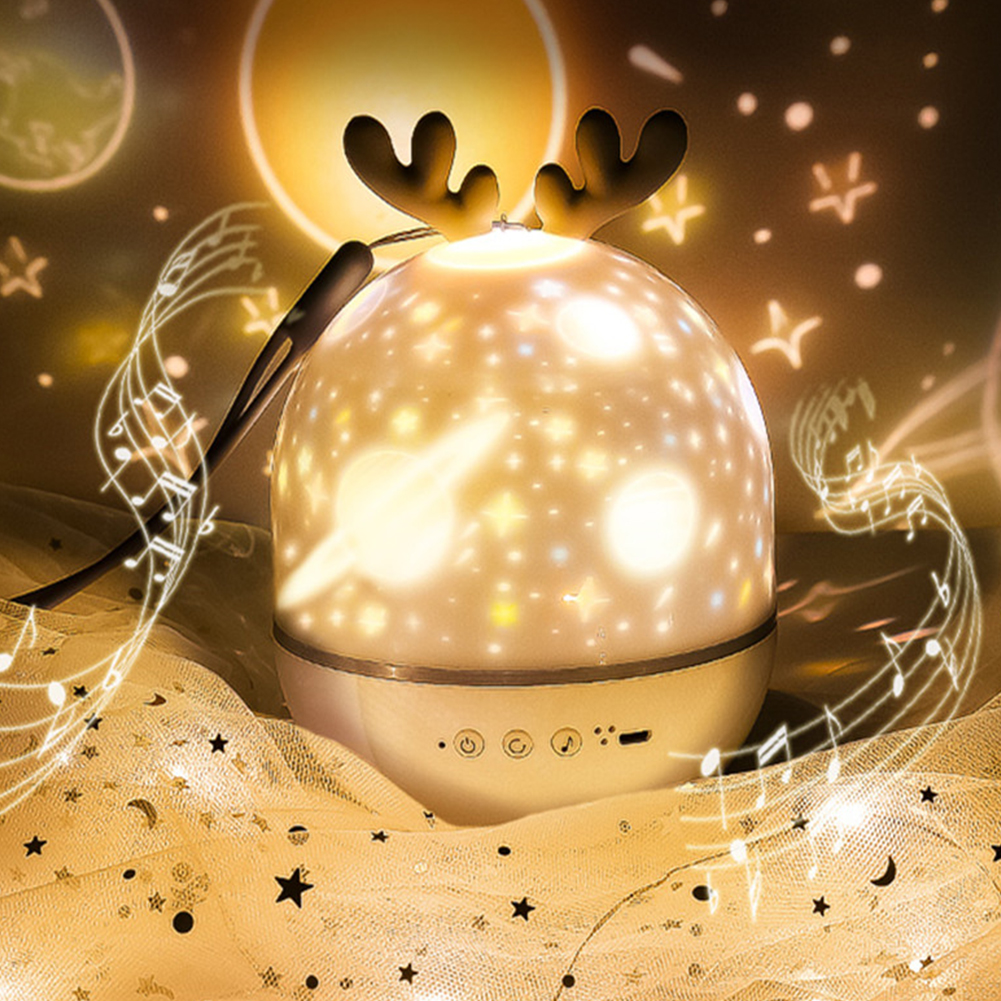 Projector LED Night Light USB Charging Rotating Projection Lamp for Kids Grey Deer