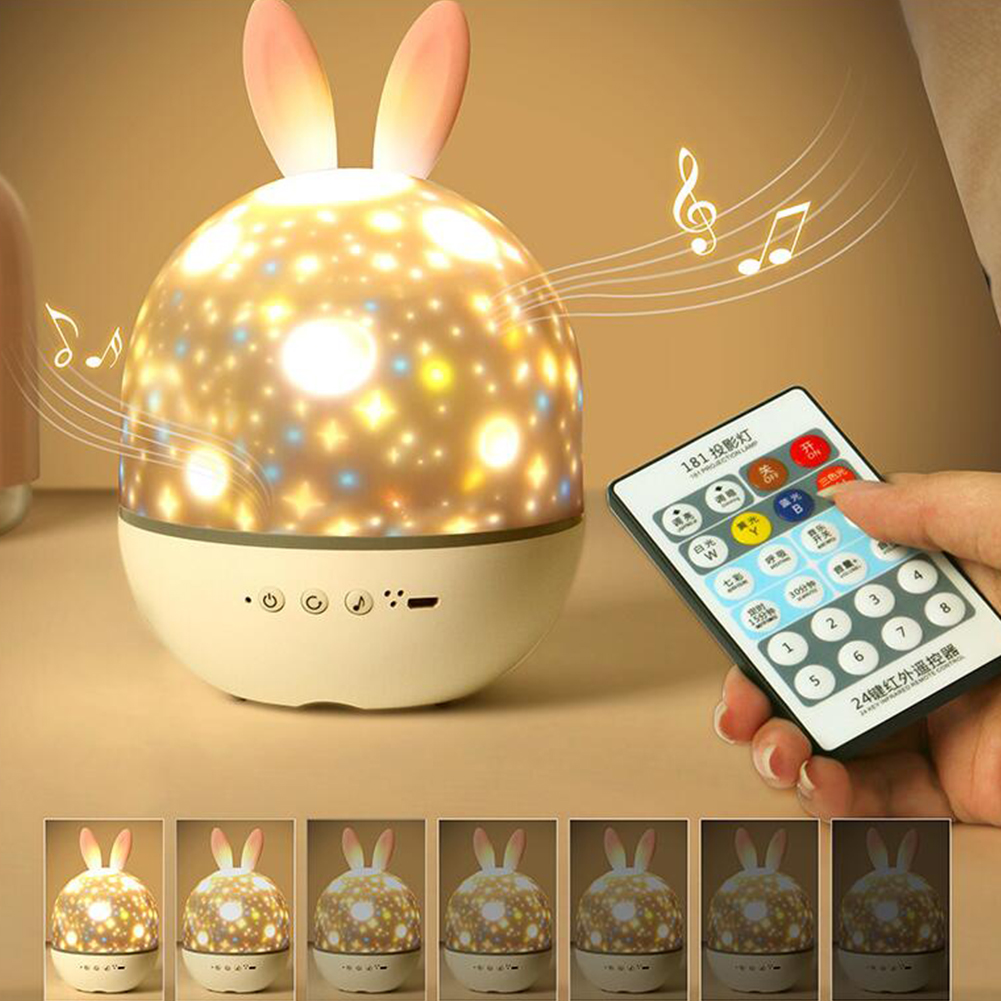 Projector LED Night Light USB Charging Rotating Projection Lamp for Kids Pink Rabbit