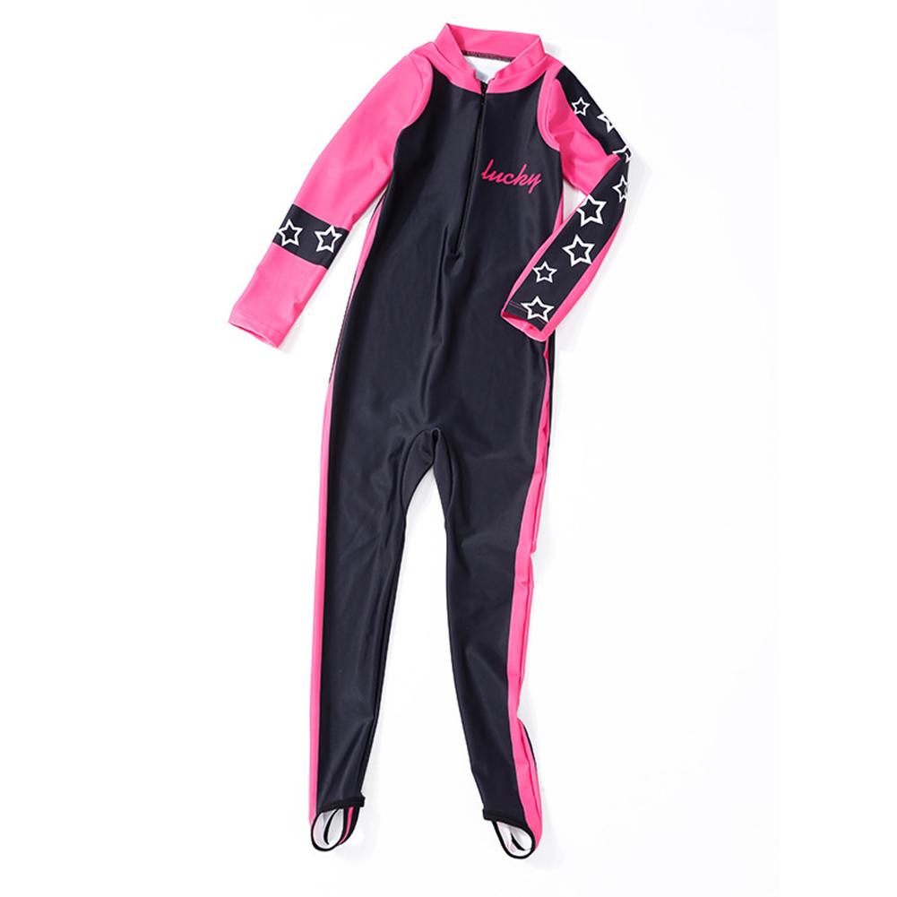 Kids Girls Boys Sunscreen Quick Dry Long Sleeve Diving Muslim Swimwear Pink_M