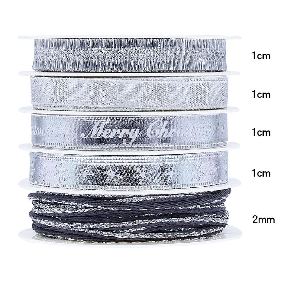 5Pcs/Set Christmas Printing Ribbon Gift Packing Decoration Diy Ribbons Roll Silver-F