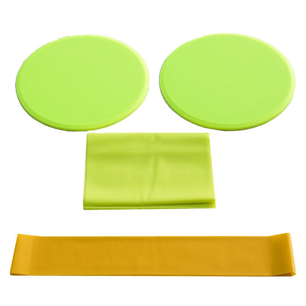 3Pcs Exercise Sliding Gliding Discs Yoga Fitness Abdominal Trainers Core Slider Tension Belt Resistance Ring yellow