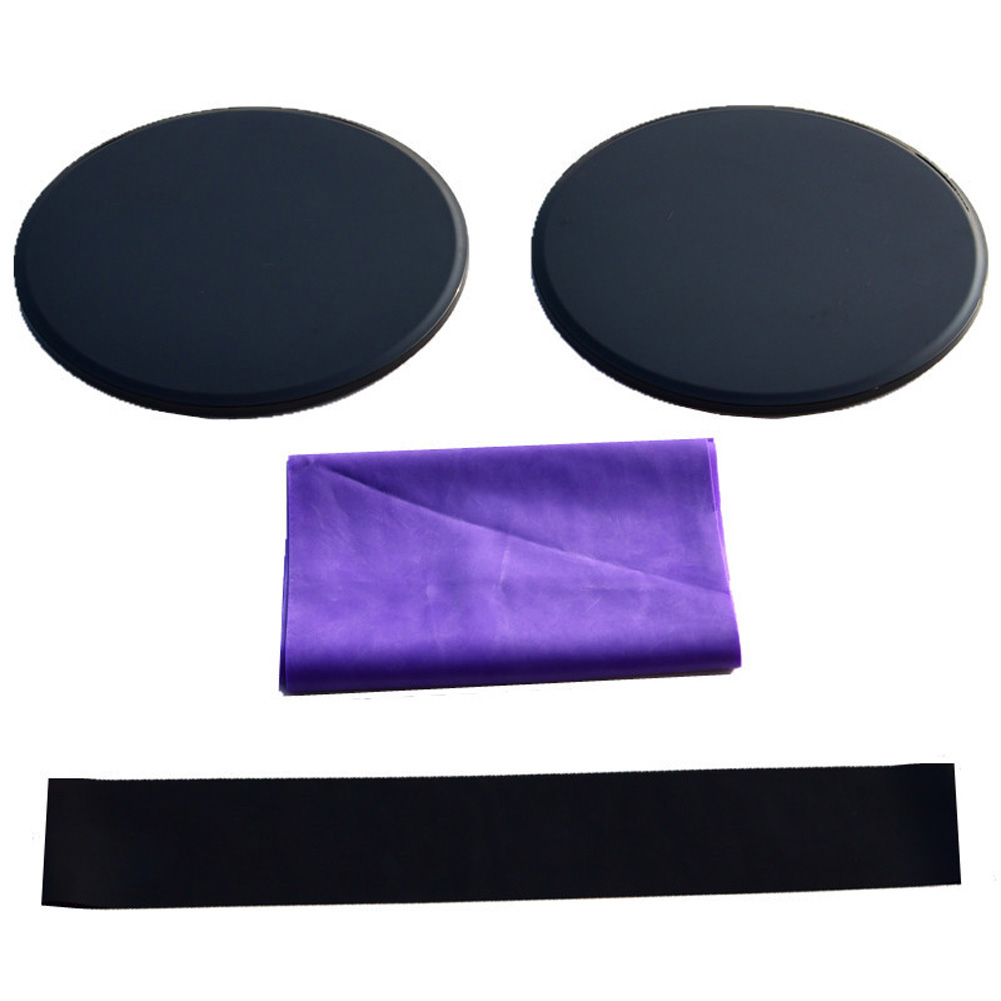 3Pcs Exercise Sliding Gliding Discs Yoga Fitness Abdominal Trainers Core Slider Tension Belt Resistance Ring black