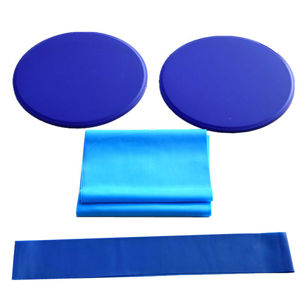 3Pcs Exercise Sliding Gliding Discs Yoga Fitness Abdominal Trainers Core Slider Tension Belt Resistance Ring blue