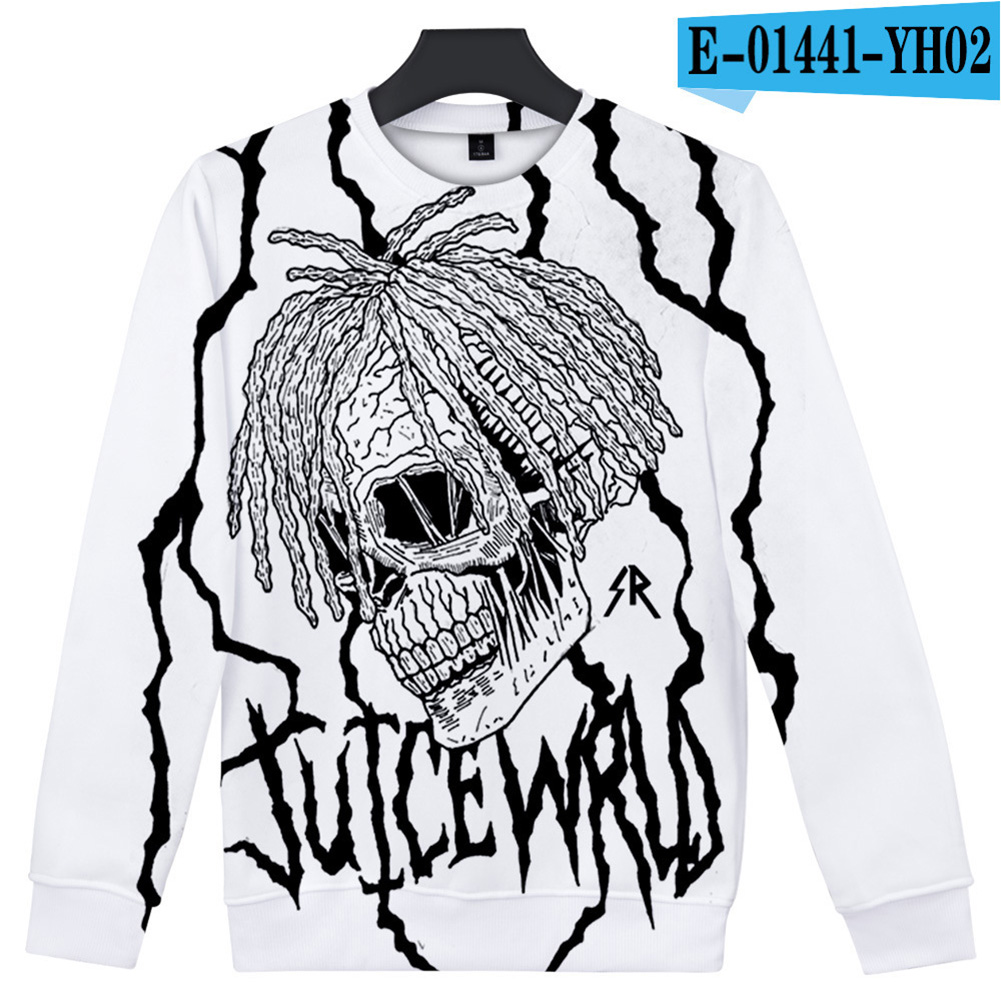 Men Women Sweatshirt Juice WRLD Portrait Flower Skull Crew Neck Unisex Loose Pullover Tops E-01441_S