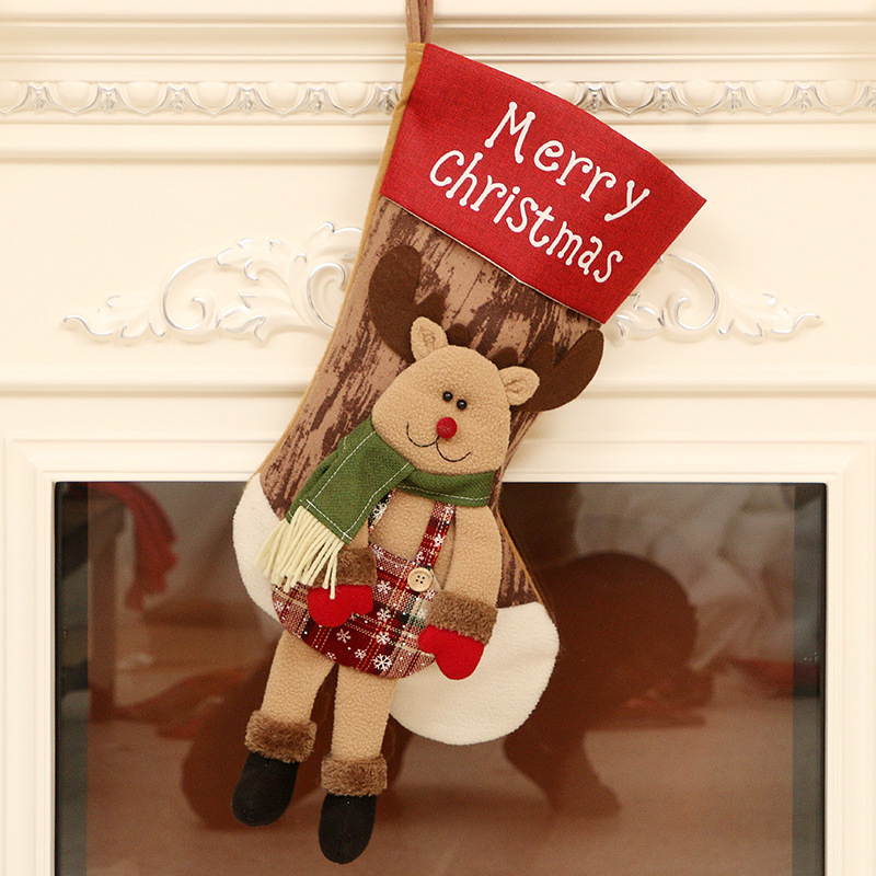 Linen Cloth Christmas Stockings With Santa Claus Snowman Reindeer Pattern For Christmas Decorations W515 reindeer Long Feet Christmas Stocking
