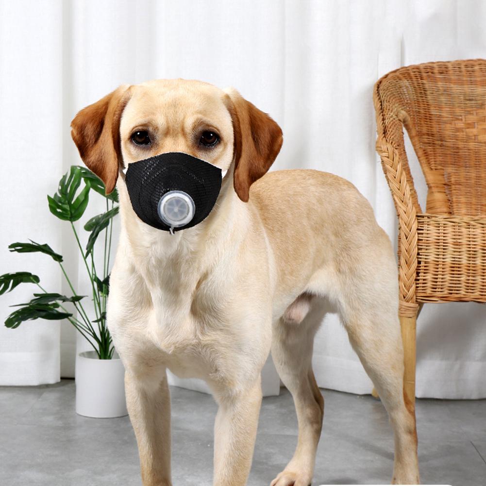 Pet Dog Soft Face Cotton Mouth Cover Respiratory Filter Anti-fog Haze Muzzle Face Guard black_L
