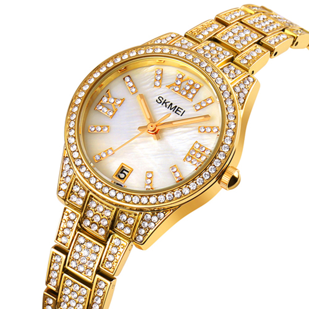 Ladies Quartz  Watch Stainless Steel Luxury Rhinestone Dial Watch Time Date Display Clock Golden