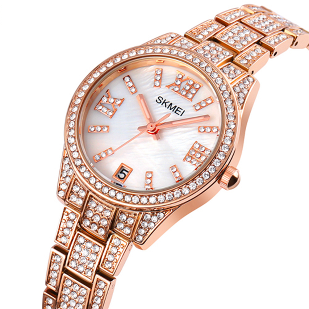 Ladies Quartz  Watch Stainless Steel Luxury Rhinestone Dial Watch Time Date Display Clock Rose gold
