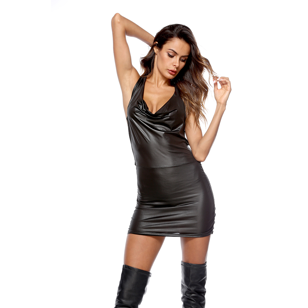Women Sheath Dress PVC Wet Look Erotic Costume Sexy Faux Leather Party Night Dress Shiny Club Bodysuits  black_L