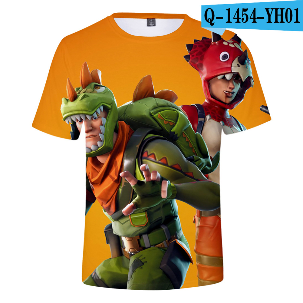 Casual 3D Cartoon Pattern Round Neck T-shirt Picture color AG_XS