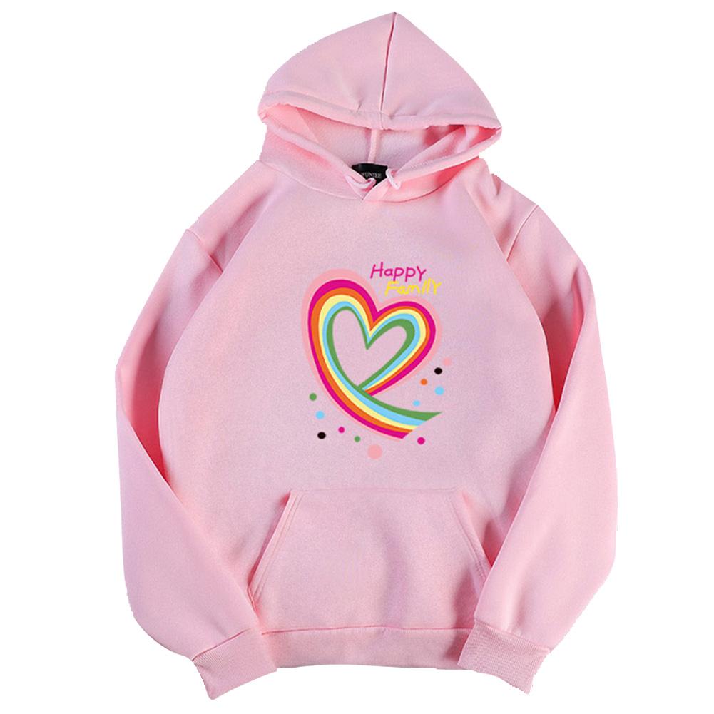 Men Women Hoodie Sweatshirt Happy Family Heart Loose Thicken Autumn Winter Pullover Tops Pink_XL