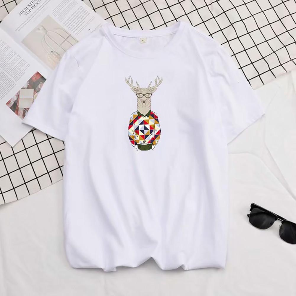 Men Summer Fashion Short-sleeved T-shirt Round Neckline Loose Printed Cotton Bottoming Top 632 white_L