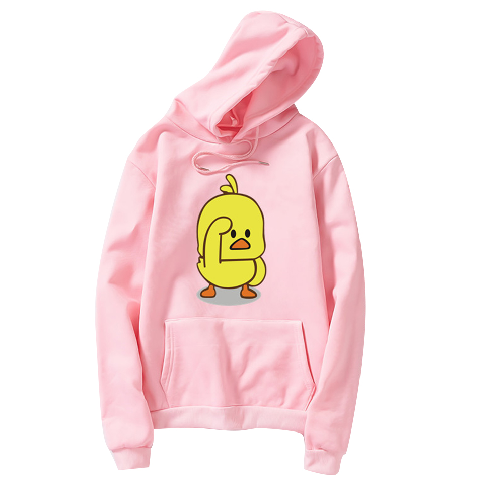 Fleece Cartoon Yellow Duck Pattern Hooded Sweatshirt for Men Women Pink_L