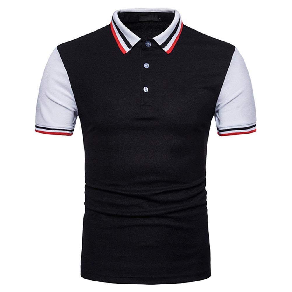 Men Summer Fashion Threaded Collar Short Sleeve POLO Shirt Tops black_S