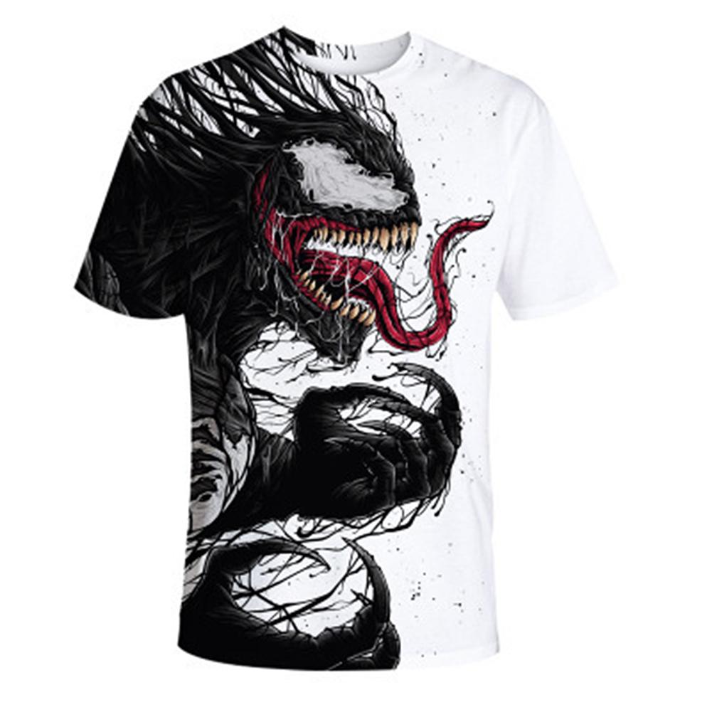 Men Soft 3D Digital Printing Fashion Summer Round Collar Casual T-shirt Tops Venom_XXL