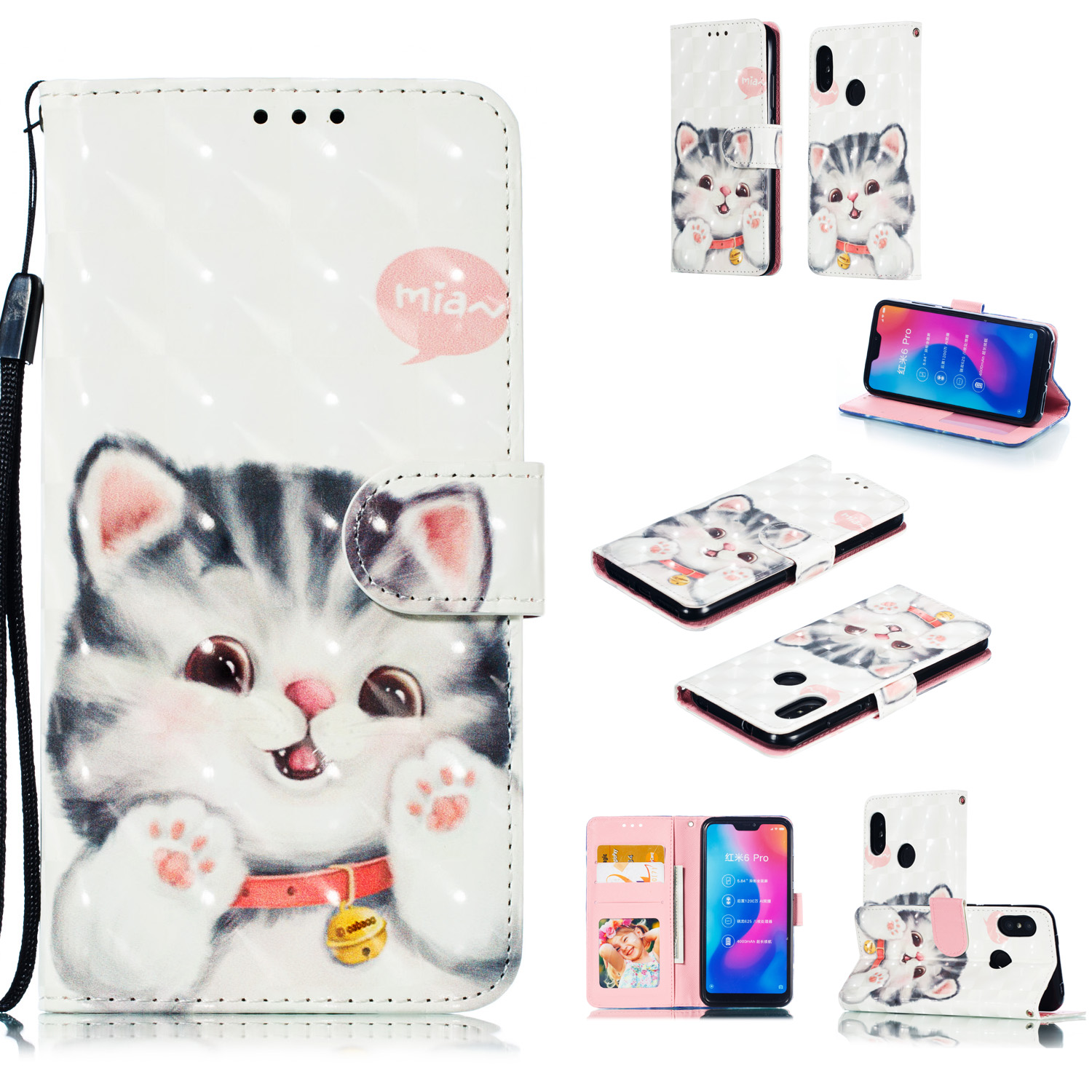 For Redmi 6 pro/XIAOMI A2 LITE 3D Coloured Painted Leather Protective Case with Bracket & Card Position & Lanyard Jingle cat