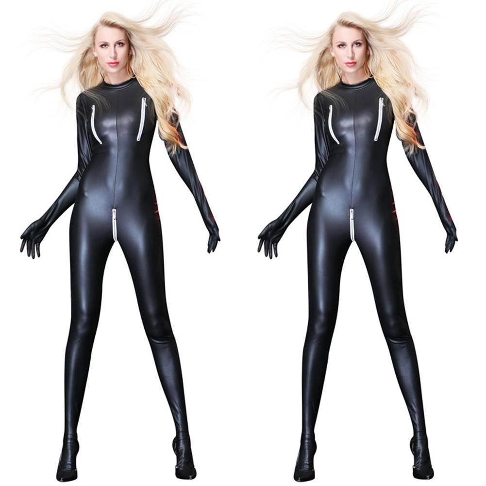 Sexy Black Female Faux Leather Catsuit PVC Latex Full Bodysuit Zipper Open Crotch Stretch Clubwear Erotic Pole Dance Lingerie black_M