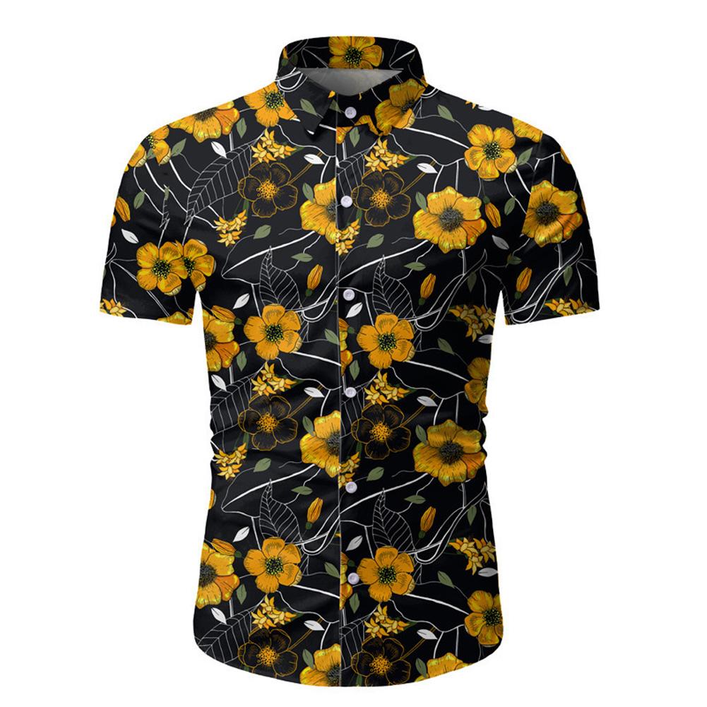 Men Summer Spring Flower Printing Fashion Soft Cotton Breathable Slim Shirt Top Photo Color_M