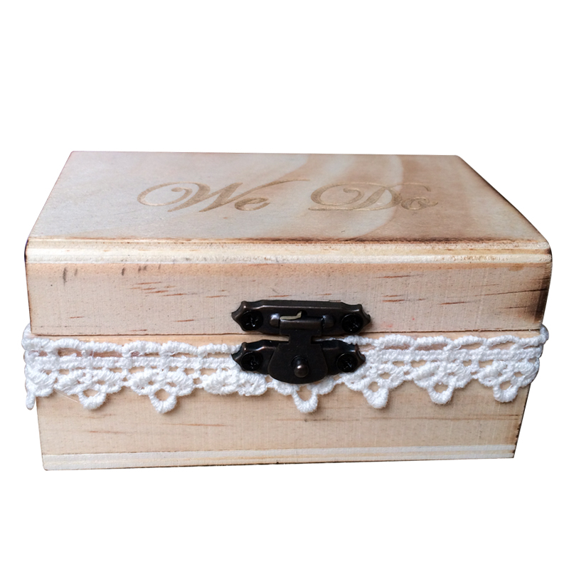 We Do Rustic Wooden Wedding Ring Bearer Box Creative Lace Decorated Lockable Ring Holder Box 10 * 6 * 5cm