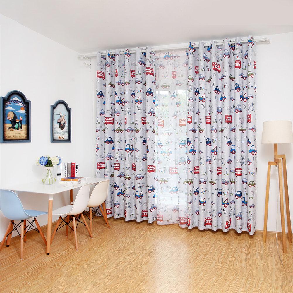 Cartoon Cars Printing Shading Window Curtain for Kids Bay Window Nursery Baby Room Photo Color_W100*H250cm cloth punching