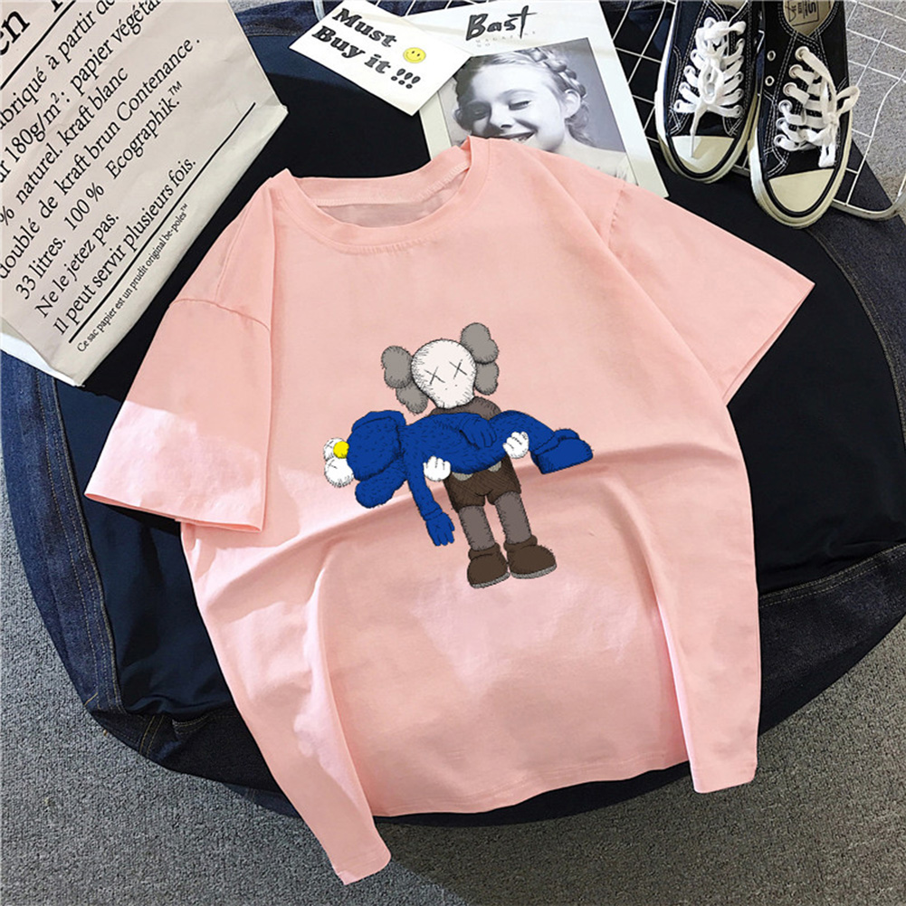 Boy Girl KAWS T-shirt Cartoon Holding Doll Crew Neck Couple Student Loose Pullover Tops Pink_XL