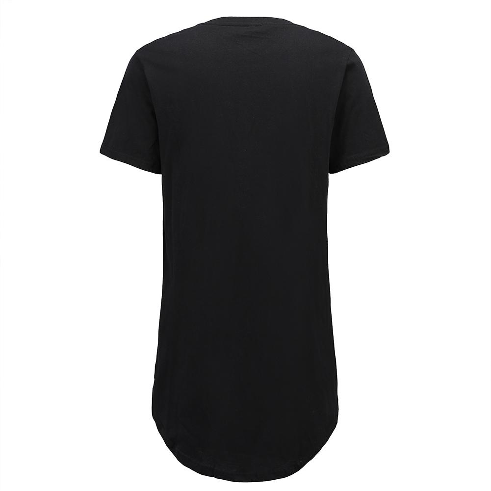 Men Fashion Casual Loose Round Hem Elongated Solid Color T-shirt black_M