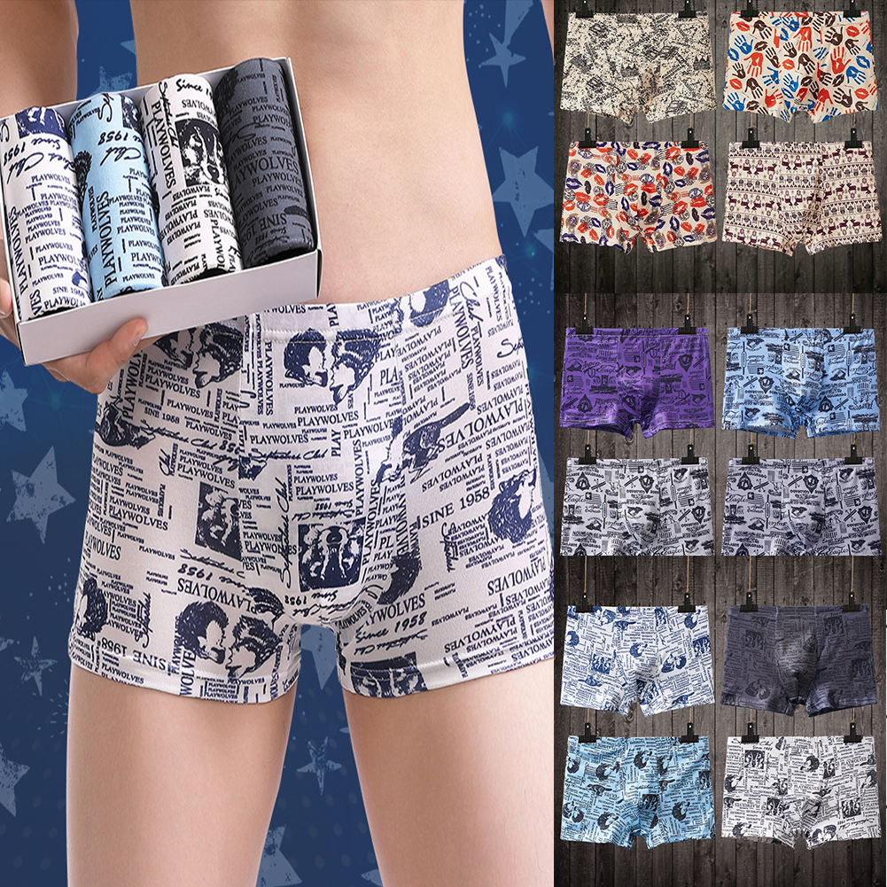 1PC Men Breathable Milk Fiber Boxer Briefs Random_L