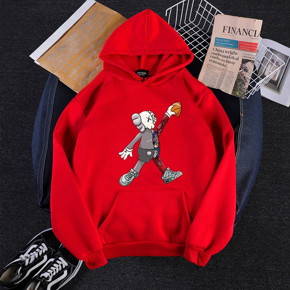 KAWS Men Women Hoodie Sweatshirt Cartoon Walking Doll Thicken Autumn Winter Loose Pullover Red_XXXL
