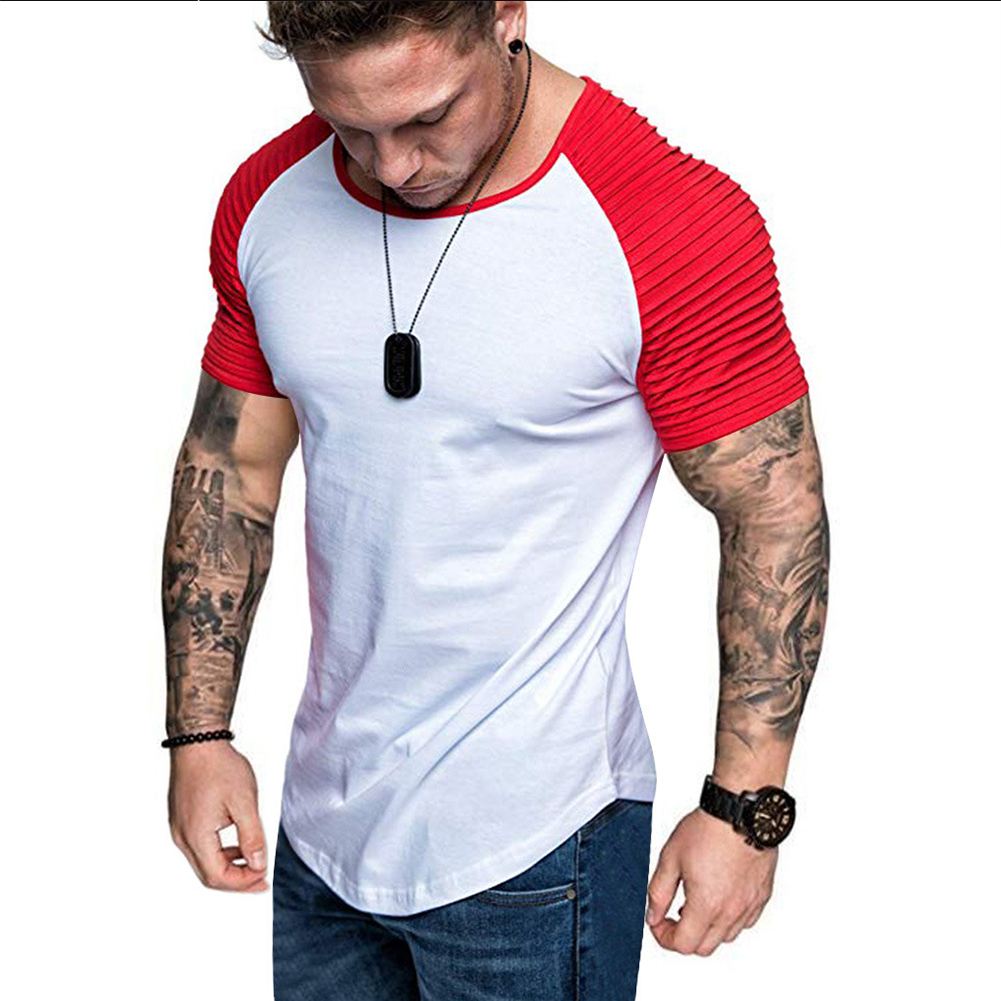 Men Casual Sports T-shirt Thin Slim Fashion Matching Color T-shirt White with red_XL