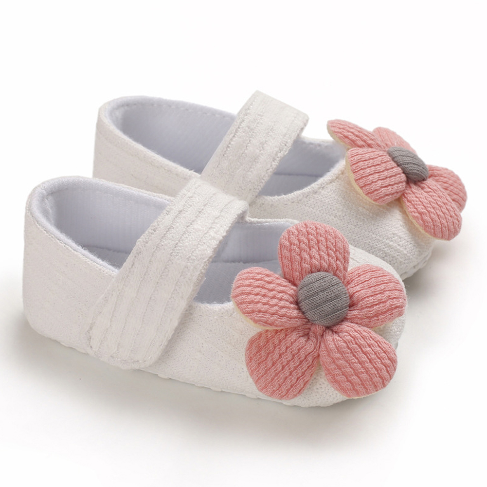 Cute Flower Soft Sole Non-Slip Prewalker Princess Shoes for Kids Baby Toddler Girls white_Inside length 11 cm