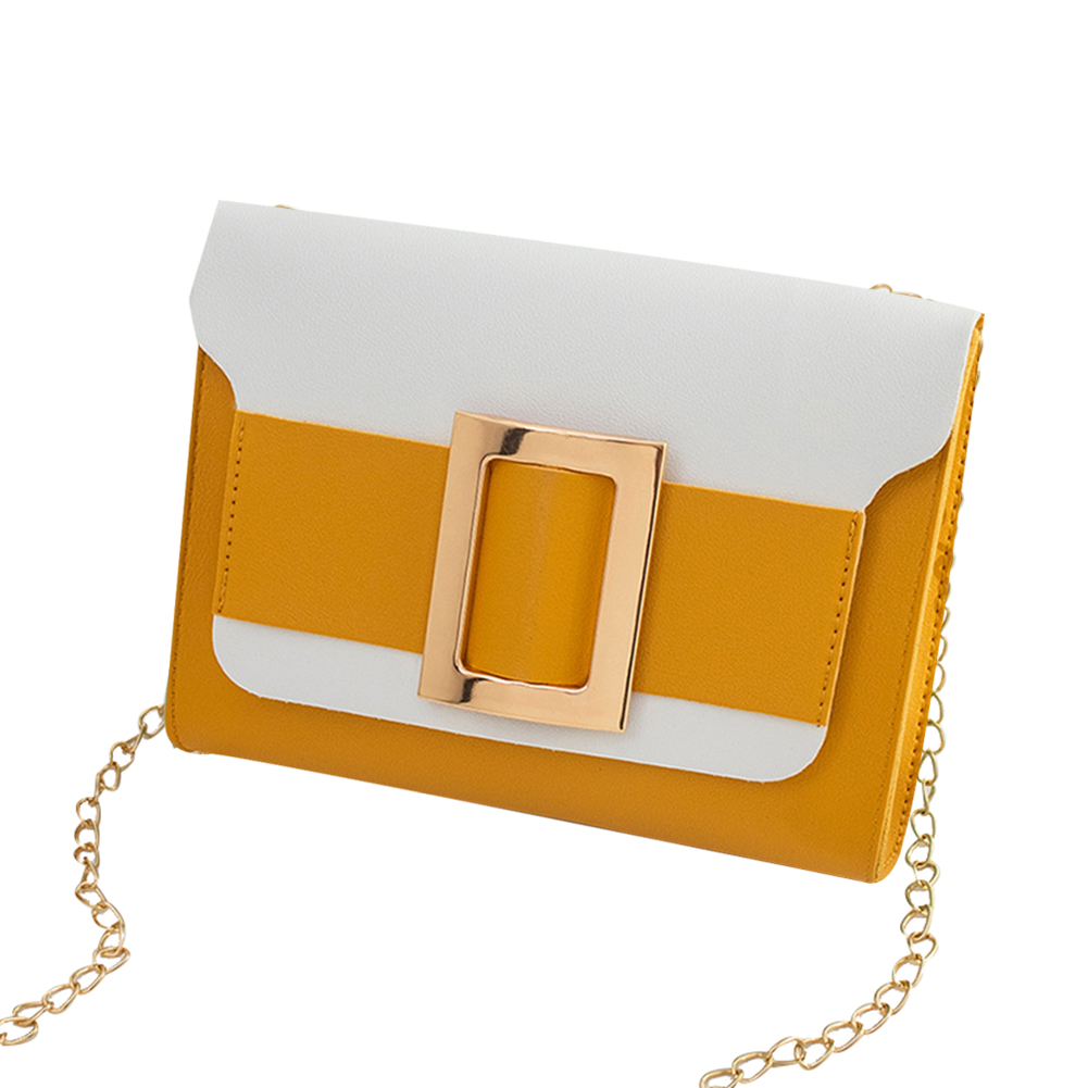 Female Fashion Color-matching Satchel Sweet Casual for Phone Card Organize yellow