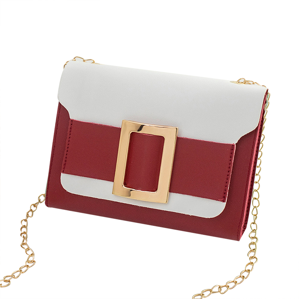 Female Fashion Color-matching Satchel Sweet Casual for Phone Card Organize red