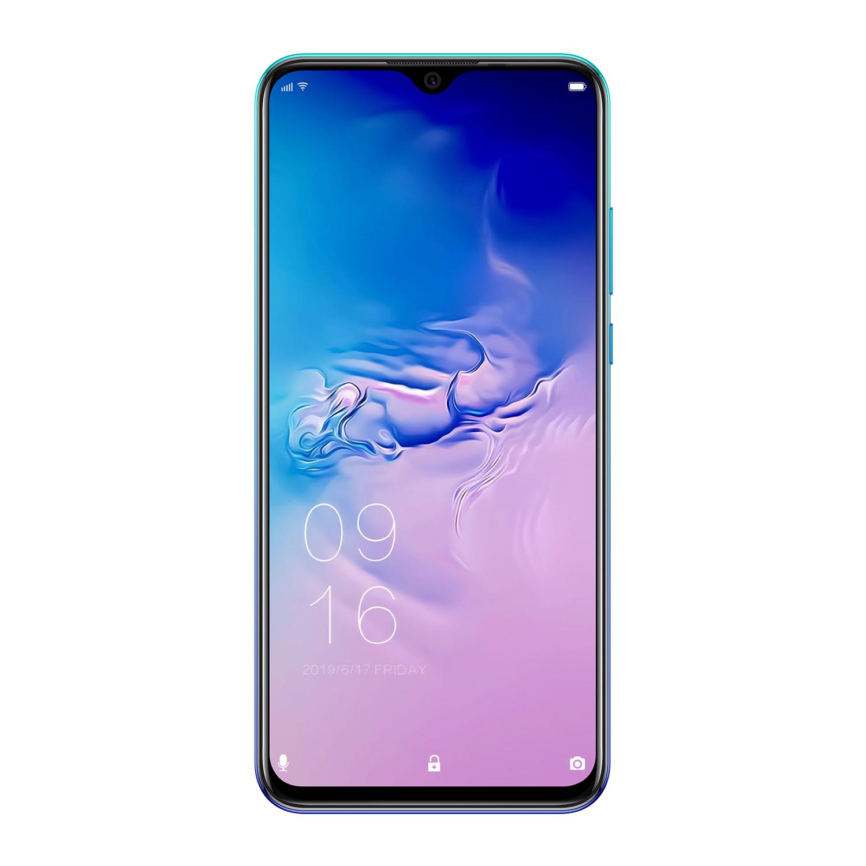 Elephone A6 MAX 6.53 Inch 4GB 64GB Android 9.0 Smartphone MT6762V Quad Core 20MP Fingerprint 3400mAh 4G OTG NFC Mobile Phone blue