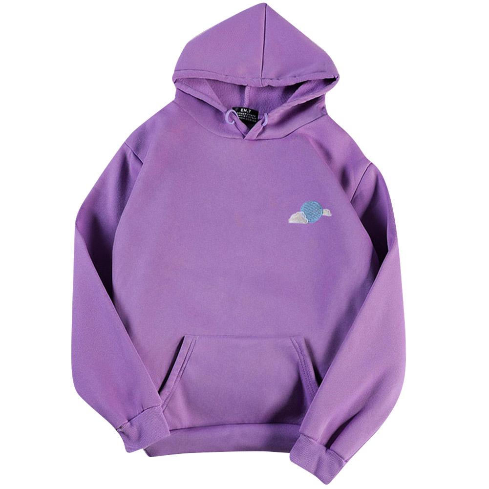 Men Women Hoodie Sweatshirt Thicken Velvet Loose Cloud Autumn Winter Pullover Tops Purple_M