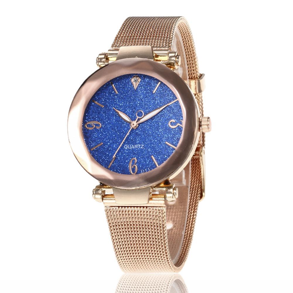 Women Fashion  Quartz Wrist Watch Stainless Steel Strap Buckle and Watchcase Watch blue