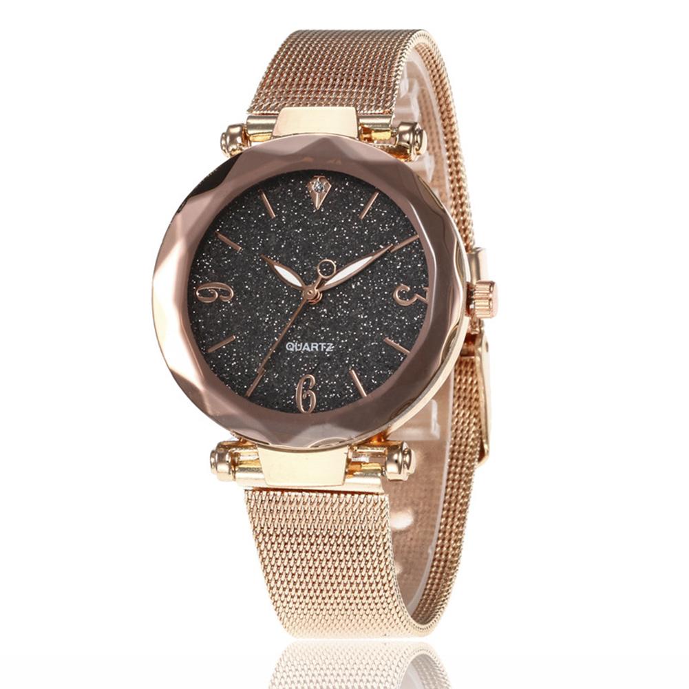 Women Fashion  Quartz Wrist Watch Stainless Steel Strap Buckle and Watchcase Watch black