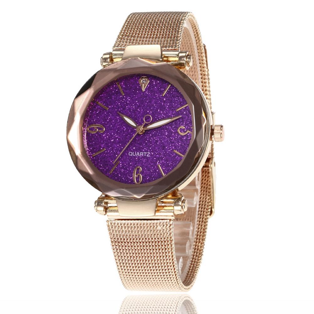 Women Fashion  Quartz Wrist Watch Stainless Steel Strap Buckle and Watchcase Watch purple