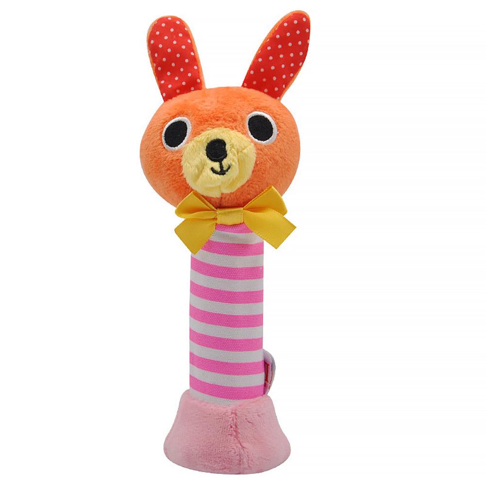 Baby Rattles BB Sticks Plush Doll Crib Bed Hanging Toy for Kids Newborn Yellow rabbit