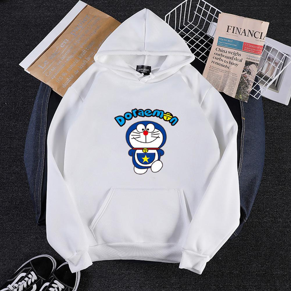Men Women Hoodie Sweatshirt Doraemon Cartoon Loose Thicken Autumn Winter Pullover Tops White_L