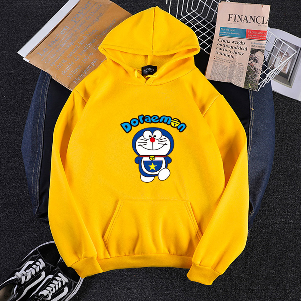 Men Women Hoodie Sweatshirt Cartoon Doraemon Thicken Loose Autumn Winter Pullover Tops Yellow_XL