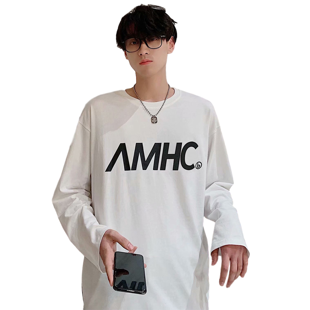 Men's T-shirt Spring and Autumn Long-sleeve Letter Printing Crew- Neck All-match Bottoming Shirt White _L