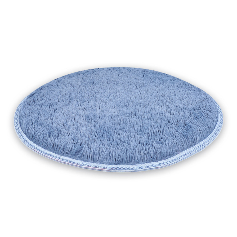 Round Long Plush Pet Mat Cushion for Cat Dog Sleeping Resting silver gray_S