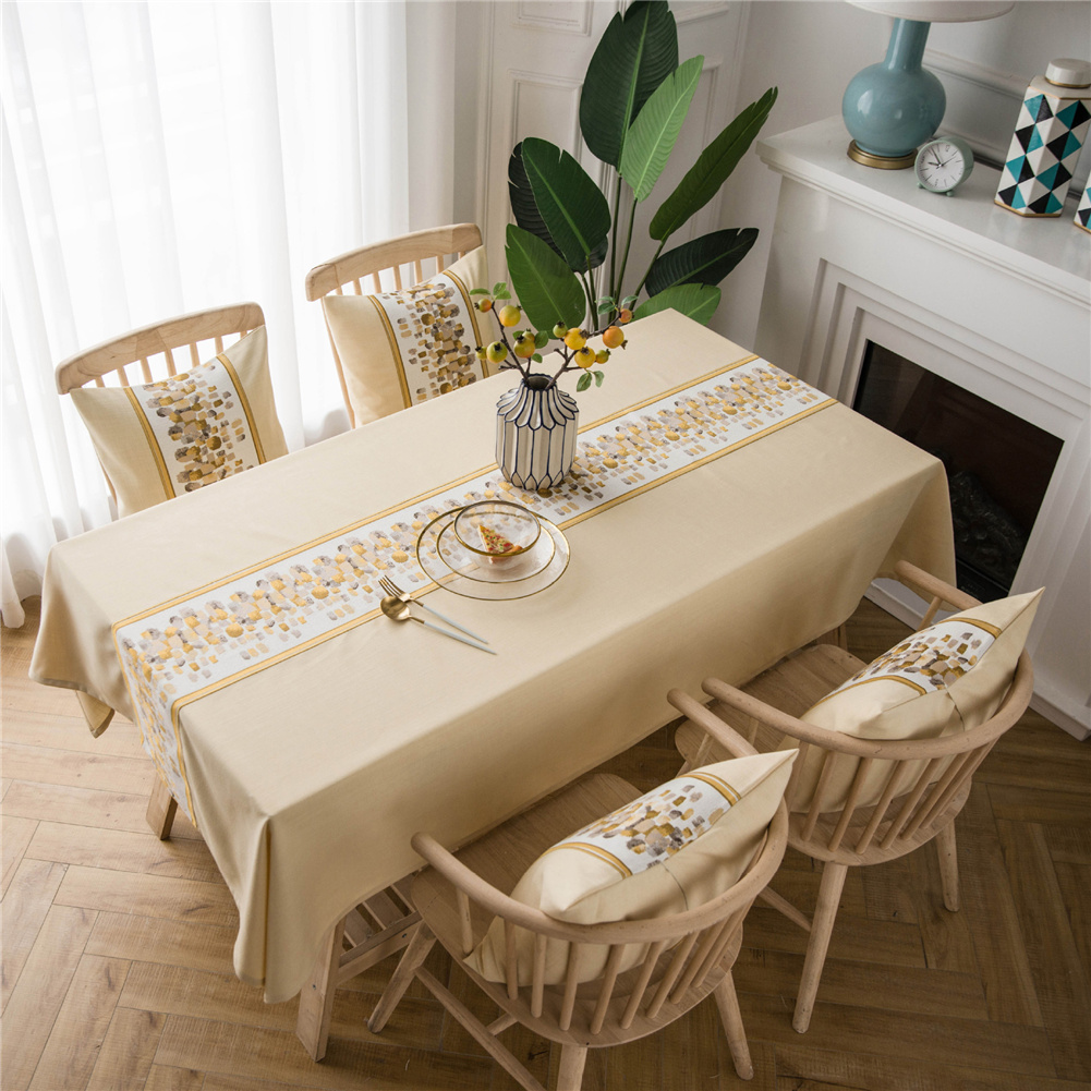 Waterproof Table  Cloth Decorative Fabric Embroidery Table Cover For Outdoor Indoor Beige stone embroidery_135*180